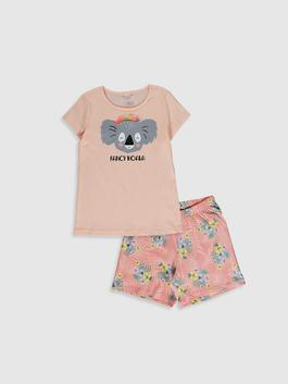 PINK - Girl's Printed Cotton Pyjamas Set