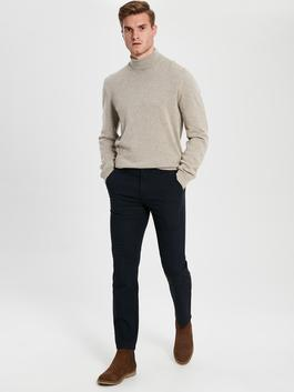 NAVY - Standard Fit Twill Trousers