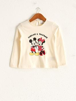 ECRU - Baby Girl's Minnie and Mickey Mouse Printed T-Shirt