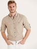 BEIGE - Regular Fit Long Sleeve Poplin Shirt - 9W1097Z8