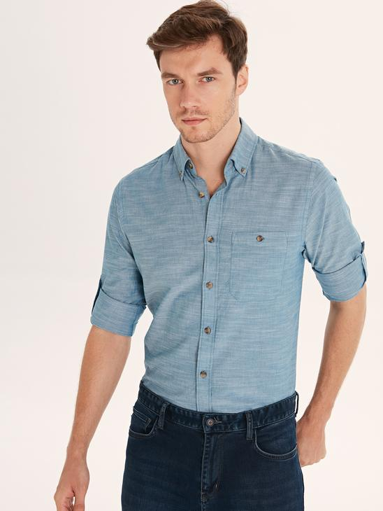 PETROL - Regular Fit Long Sleeve Poplin Shirt - 9W1097Z8
