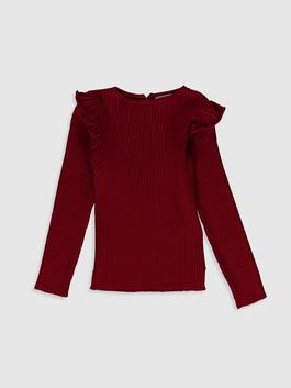 RED - Girl's Ruffle Detailed Lightweight Tricot Jumper