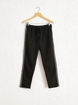 BLACK - Elastic Waist Stripe Detailed Ankle Length Carrot Fit Trousers