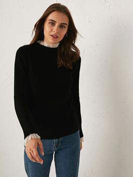 BLACK - Tulle Detailed Tricot Jumper