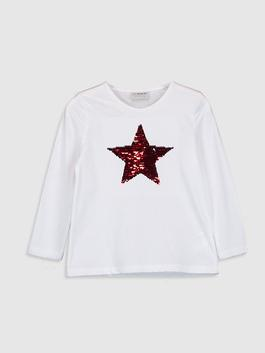 WHITE - Girl's Double-Sided Sequin Cotton T-Shirt