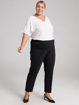 BLACK - Ankle Length Carrot Fit Trousers