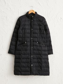 BLACK - Collar Detailed Duck Feather Coat