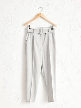 GREY - Ankle Length Belted Carrot Fit Trousers