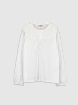 WHITE - Girl's Lace Detailed Cotton T-Shirt