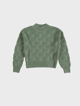 GREEN - Self-Patterned Tricot Jumper