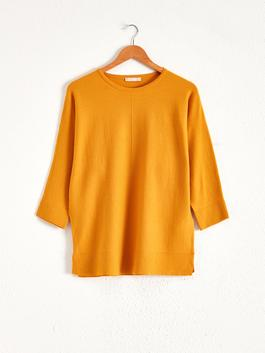 YELLOW - Plain Loose Fit Tricot Jumper