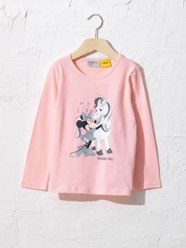 PINK - Girl's Minnie Mouse Printed Cotton T-Shirt