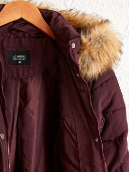 PLUM - Faux Fur Detailed Puffer with Hood - 0W0088Z8