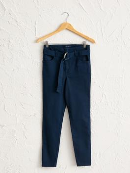 NAVY - Ankle Length Skinny Trousers