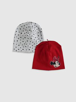 RED - 2-pack Baby Girl's Minnie Mouse Printed Beret