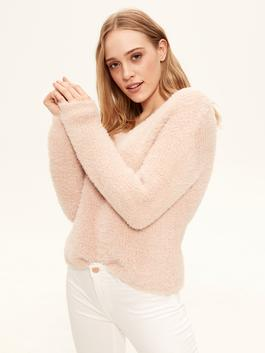 PINK - Glitter Detailed and Furry Tricot Jumper