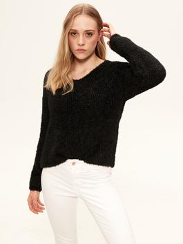 BLACK - Glitter Detailed and Furry Tricot Jumper