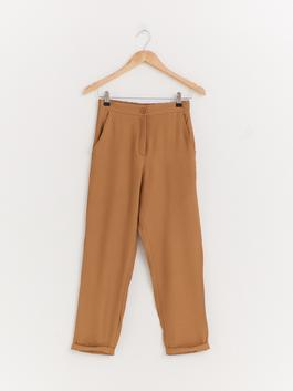 BROWN - Elastic Waist Viscose Trousers