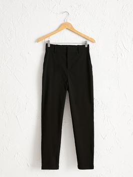 BLACK - Elastic Waist Carrot Fit Trousers