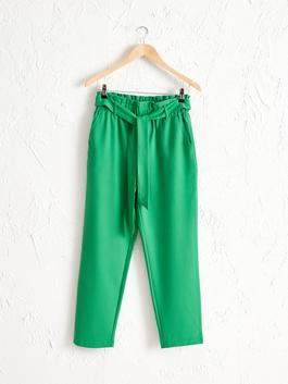 GREEN - Elastic Waist Carrot Fit Trousers