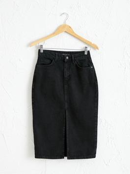 BLACK - Slit Jean Skirt