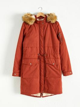 BROWN - Thick Parka With Fur Hood