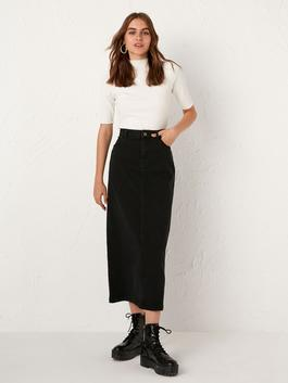 BLACK - Jean Maxi Skirt with Pocket