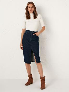 INDIGO - Slit Detailed Jean Skirt