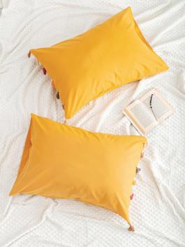 BROWN - Tasseled Pillow Case 2 Pieces