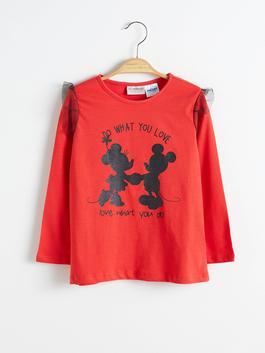 RED - Girl's Minnie Mickey Mouse Printed T-Shirt