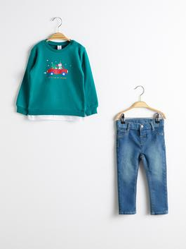 GREEN - Baby Boy's Printed Sweatshirt and Trousers