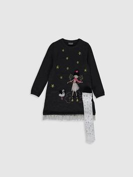 ANTHRACITE - Girl's Tricot Dress and Tights