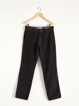 GREY - Loose Fit Velvet Chino Trousers
