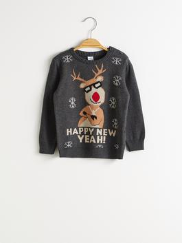 ANTHRACITE - Baby Boy's New Year Themed Tricot Jumper