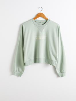 GREEN - Letter Printed Crop Sweatshirt