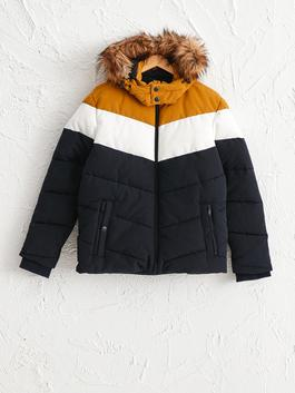 YELLOW - Faux Fur Detailed Puffer with Hood