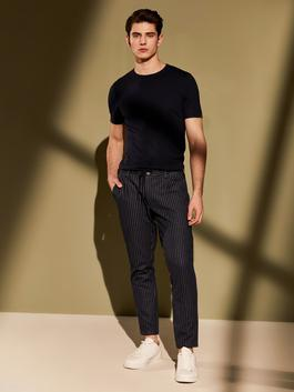 NAVY - Slim Fit Striped Trousers