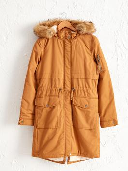 BEIGE - Thick Parka With Fur Hood