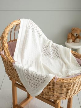 WHITE - Knitted Baby Blanket