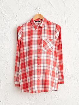 RED - Chequered Cotton Maternity Shirt