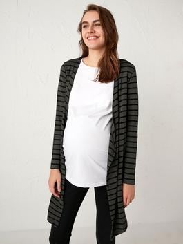 ANTHRACITE - Striped Long Maternity Cardigan