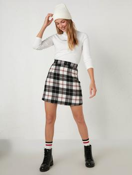 RED - Chequered Mini Skirt