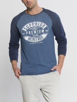 NAVY - Printed Crew Neck and Long Sleeve T-Shirt