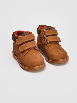 BROWN - Baby Boy's Hook and Loop Boots