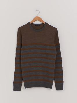 BROWN - Striped Crew Neck Lightweight Tricot Jumper