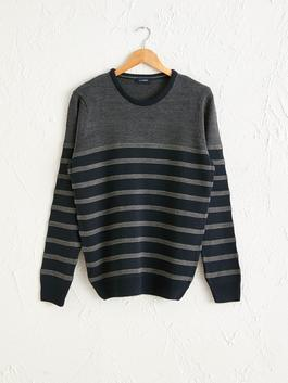 NAVY - Striped Crew Neck Lightweight Tricot Jumper