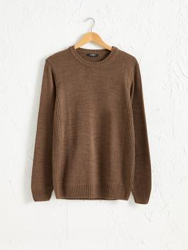 BROWN - Crew Neck Heavy Tricot Jumper