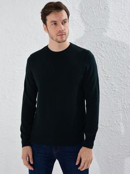 GREEN - Crew Neck Basic Tricot Jumper