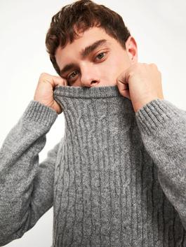 GREY - XSIDE Crew Neck Thick Knitwear Sweater