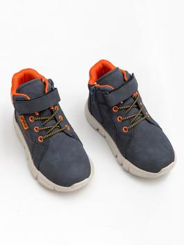 NAVY - Baby Boy Flexible Laced And Velcro Boot